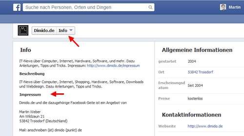 Facebook: Feld für Impressum auf Seiten und Pages