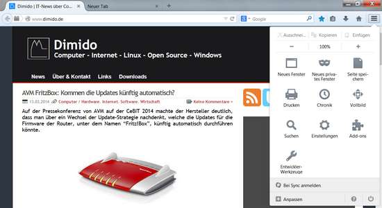Neuer Firefox mit neuer Oberfläche