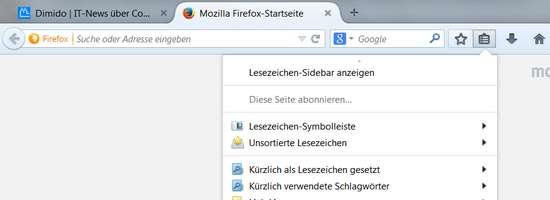 Neuer Firefox Browser mit neuen Steuerelemente