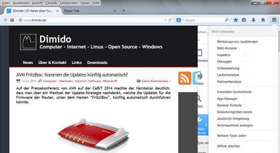 Neuer Firefox Browser mit zentralen Kopf für die Einstellungen