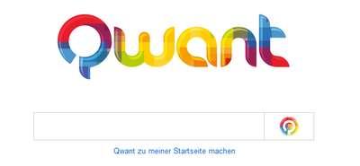 Qwant - Startseite der Suchmaschine