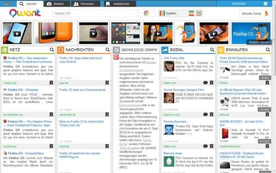 Qwant - Ergebnisse am Beispiel Firefox OS