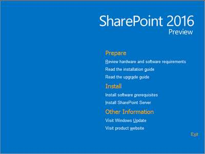 Microsoft Sharepoint 2016 Preview