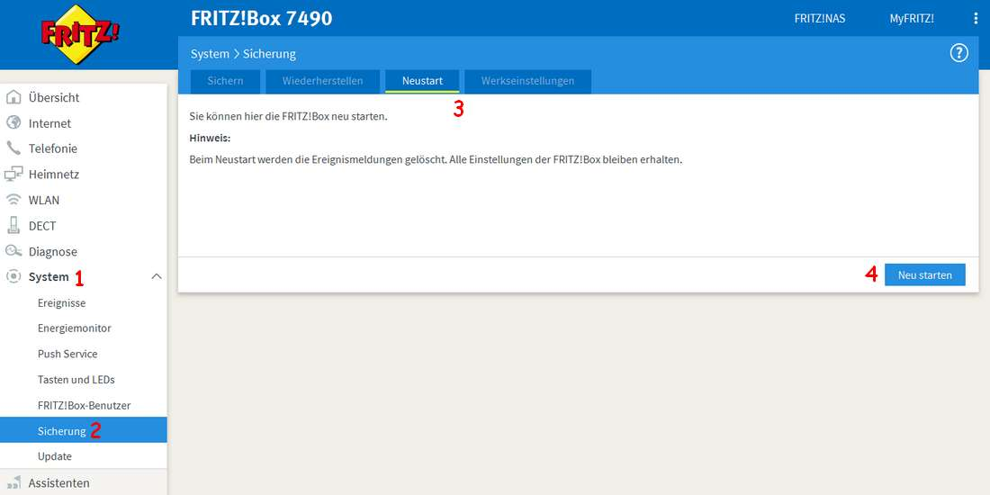 FritzBox - System, Sicherung, Neustart, neu starten